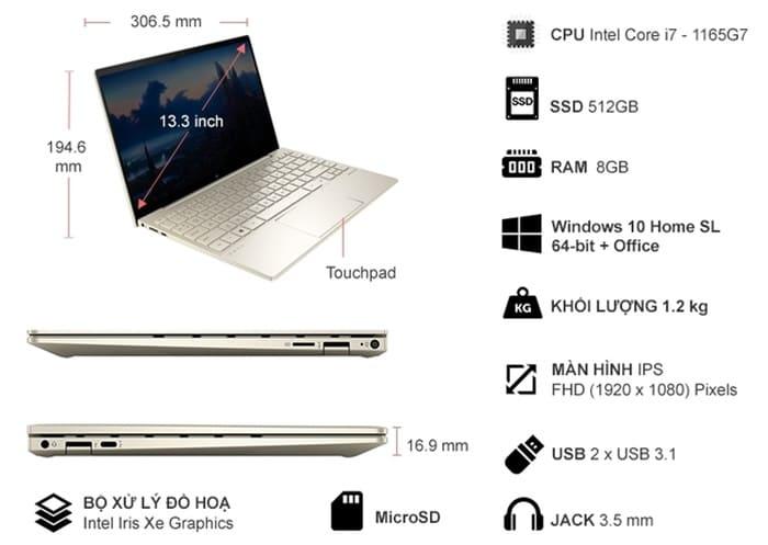 Thông số kỹ thuật Laptop HP Envy 13-BA1030TU i7-1165G7 13.3 inch 2K0B6PA