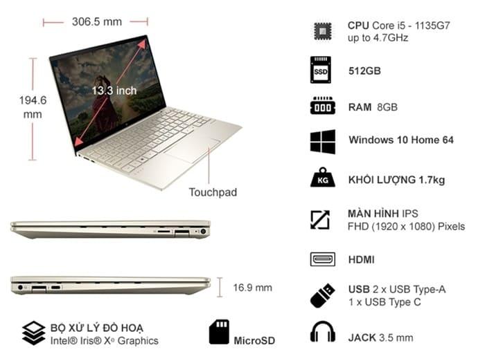 Thông số kỹ thuật Laptop HP Envy 13-BA1028TU i5-1135G7 13.3 inch 2K0B2PA