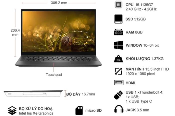 Laptop Dell Inspiron 7306 i5-1135G7 13.3 inch N3I5202W