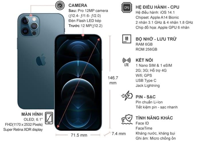 Thông số kỹ thuật Điện thoại iPhone 12 Pro 256GB Xanh