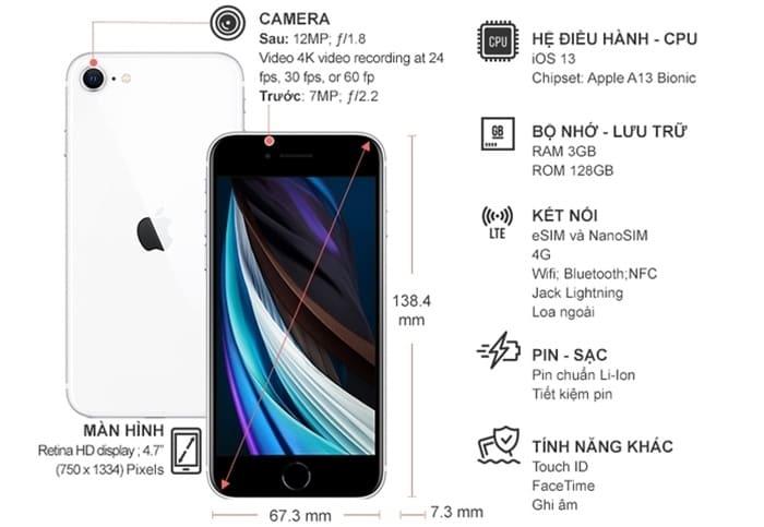 Thông số kỹ thuật Điện thoại iPhone SE 128GB Trắng (2020)