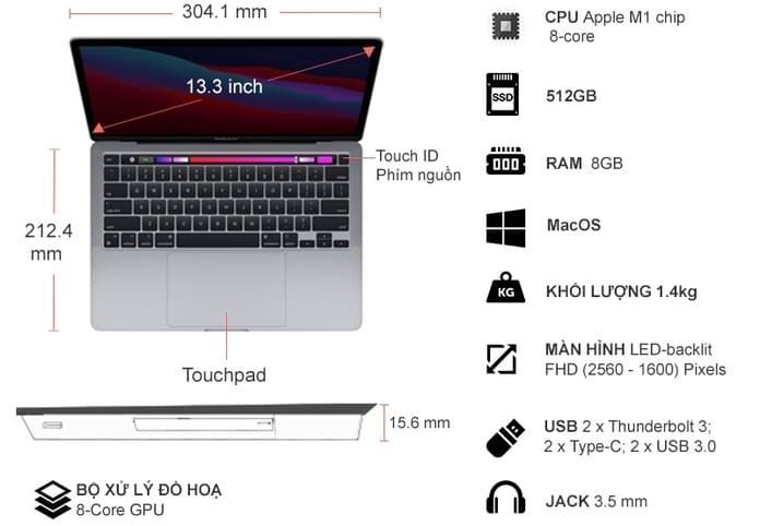 Laptop MacBook Pro M1 13.3 inch 512GB MYD92SA/A Xám