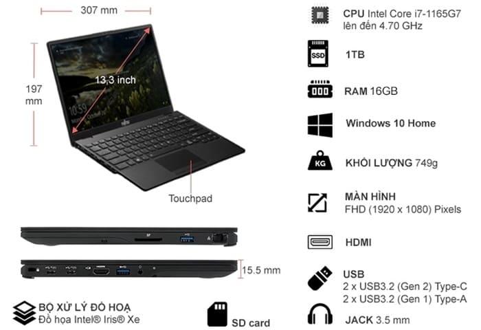 Laptop Fujitsu UH-X i7-1165G7 13.3 inch 4ZR1C14470