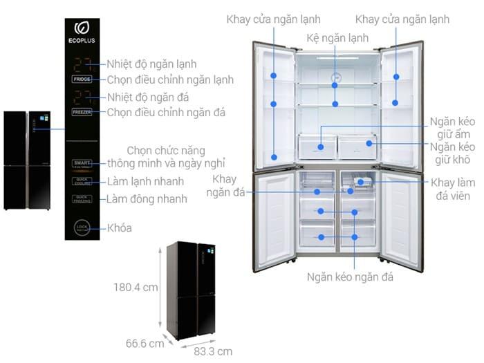 Tủ lạnh side by side Aqua Inverter AQR-IG525AM (GB) - 456 lít