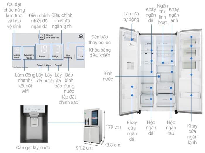 Tủ lạnh side by side LG Inverter GR-D247JD - 601 lít
