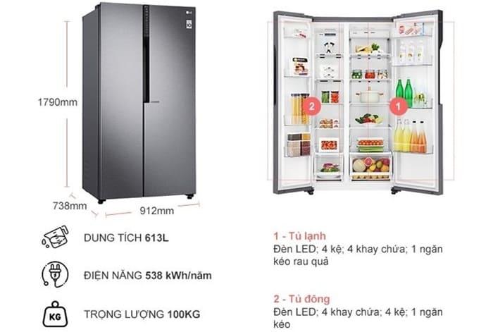 Tủ lạnh SBS LG Inverter GR-B247JDS - 613 lít