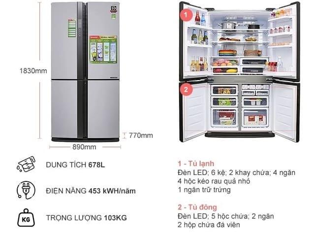 Tủ lạnh side by side Sharp Inverter SJ-FX680V - 678 lít