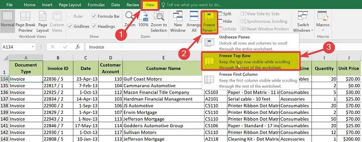 Cố định dòng đầu tiên trong Excel