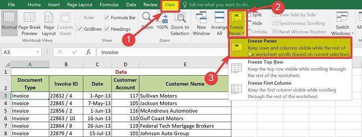 Cố định nhiều hàng trong Excel