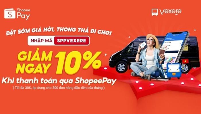 Hướng dẫn mã code khi đặt vé trên vexere và thanh toán với shopeepay