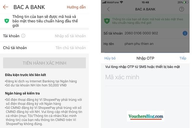 Cách Liên kết tài khoản ngân hàng Bắc Á Bank với ShopeePay