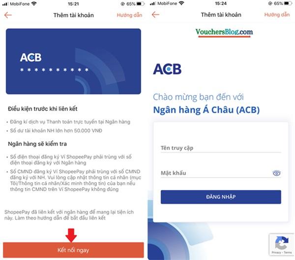 Các bước Liên kết tài khoản/thẻ ngân hàng ACB với ShopeePay