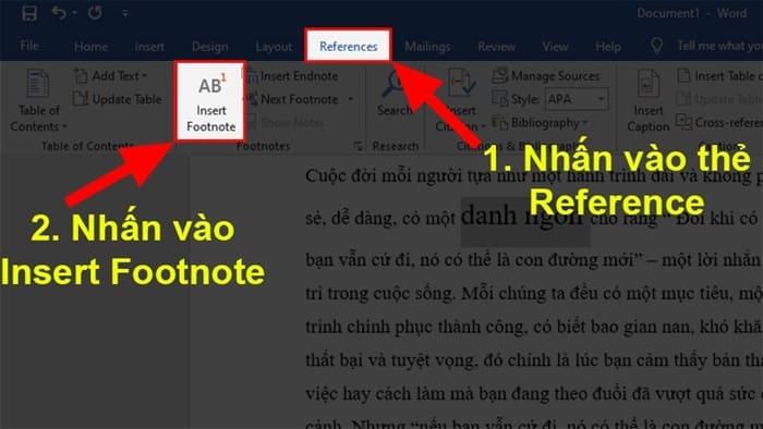 Cách Tạo Chú Thích Trong Microsoft Word