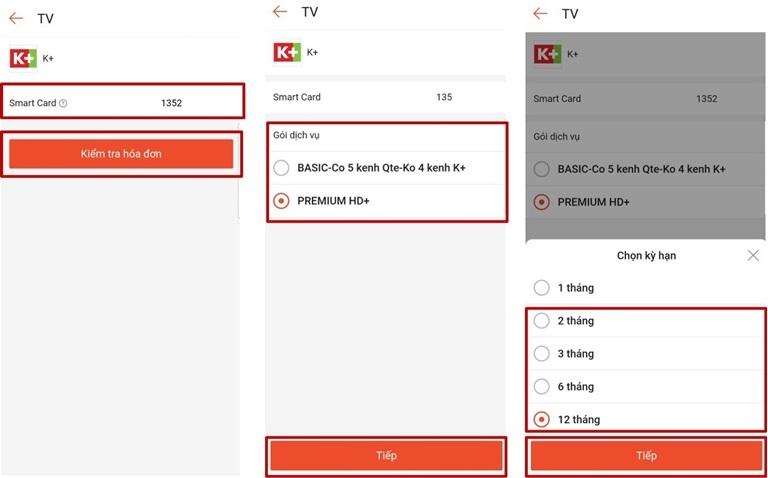 Hướng dẫn các bước thanh toán cước truyền hình K+ qua ví shopeepay