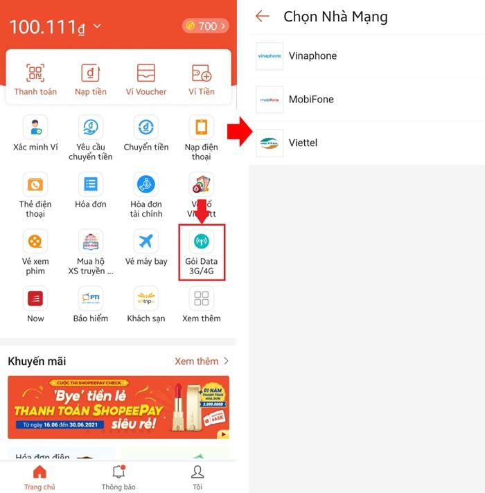 Hướng dẫn cách mua và nạp thẻ 3G / 4G trên Ví ShopeePay