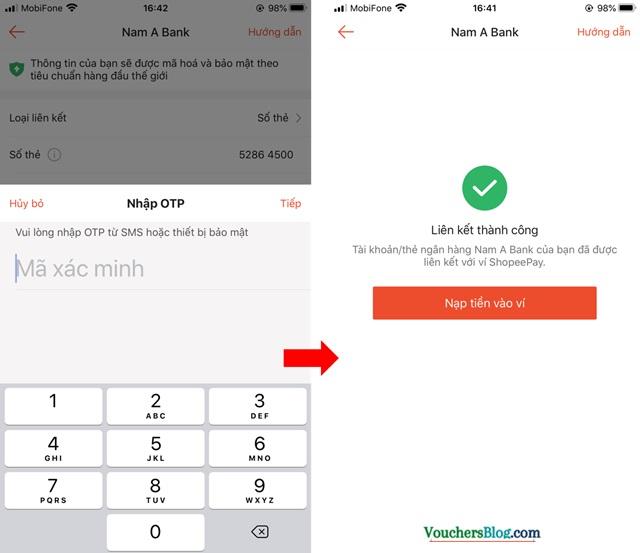 Hướng dẫn liên kết tài khoản Nam A Bank bằng số thẻ và số tài khoản với Shopeepay