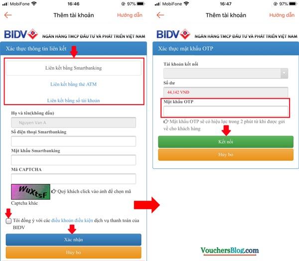 Các bước Liên kết tài khoản/thẻ ngân hàng BIDV với ShopeePay