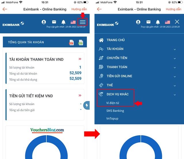 Hướng dẫn liên kết Ví ShopeePay với tài khoản ngân hàng Eximbank