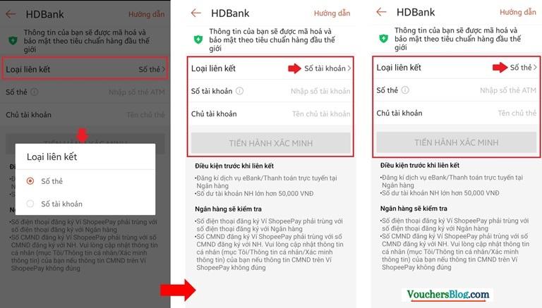 Hướng dẫn liên kết Ví ShopeePay với tài khoản ngân hàng HDBank