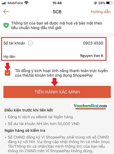 Hướng dẫn liên kết Ví ShopeePay với tài khoản ngân hàng SCB