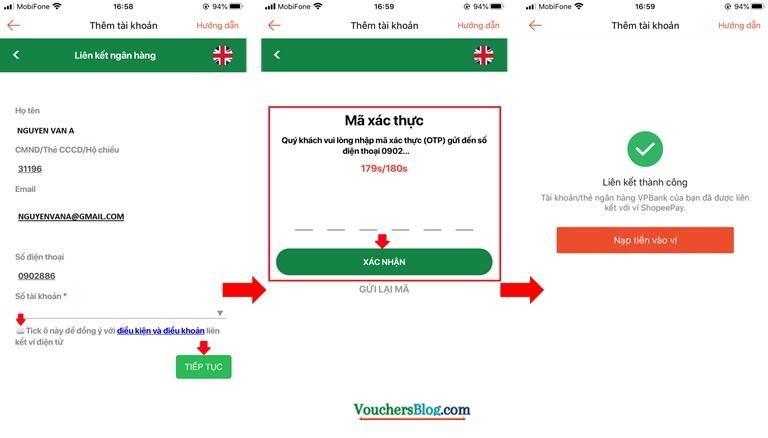 Hướng dẫn liên kết Ví ShopeePay với tài khoản VPBank