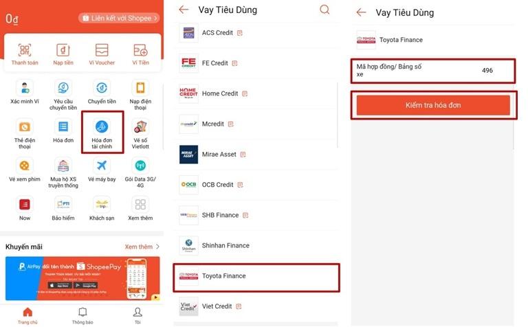 Hướng dẫn thanh toán dịch vụ tài chính Toyota Finance qua Ví ShopeePay