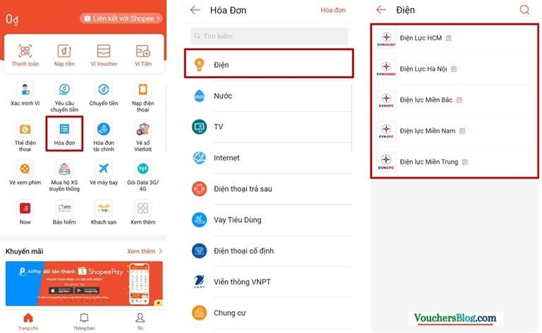 Hướng dẫn thanh toán hóa đơn điện, nước, net, TH cáp qua Ví ShopeePay