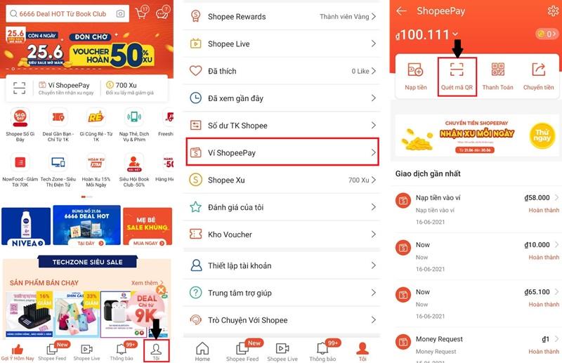 Hướng dẫn thanh toán quét mã QR trên ví Shopeepay