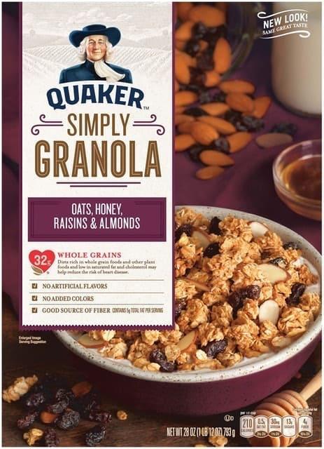 Quaker - Simply Granola Yến Mạch, Mật Ong, Nho Khô và Hạnh Nhân